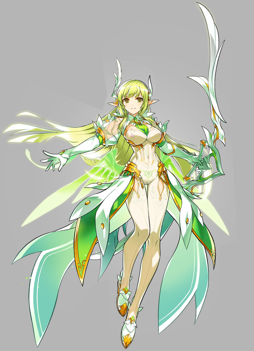 1girl artist_request bodysuit bow_(weapon) breasts cleavage daybreaker_(elsword) elbow_gloves elf elsword erolnu full_body gloves green_eyes green_hair green_neckwear green_wings holding holding_bow_(weapon) holding_weapon large_breasts legs long_hair looking_at_viewer necktie official_art pointy_ears rena_(elsword) skin_tight smile solo thigh_gap transparent_background weapon white_bodysuit white_gloves wings