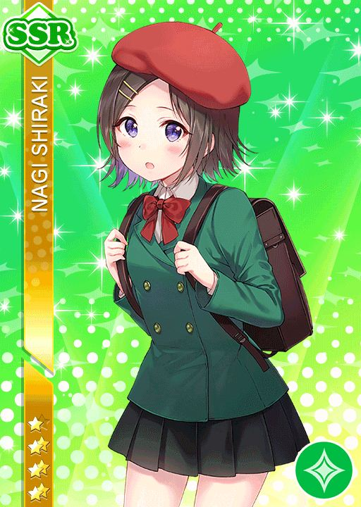 blush brown_hair character_name hat love_live!_school_idol_festival seifuku shigaki_nagi short_hair violet_eyes