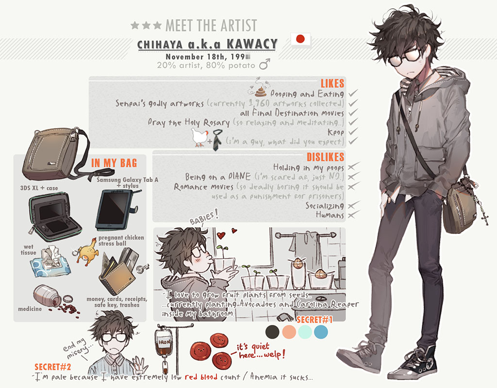 1boy artist_self-insert bag bird black-framed_eyewear black_footwear black_pants blood blood_bag blush bottle brown_hair bug cellphone character_name character_profile chicken closed_mouth commentary drawstring english english_commentary fly grey_jacket hand_in_pocket head_tilt heart holding hood hood_down hooded_jacket insect jacket japanese_flag kawacy kiss long_sleeves male_focus mars_symbol necktie o3o opaque_glasses original pale_skin pants phone pill poop red_blood_cell sapling shoes shoulder_bag smartphone standing star tissue_box towel window