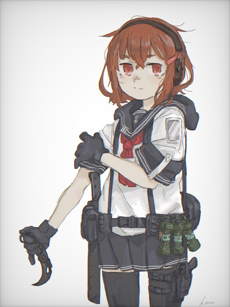 1girl anchor artist_name black_gloves black_legwear brown_eyes brown_hair commentary_request cowboy_shot ear_protection fang flashbang gloves hair_ornament hairclip ikazuchi_(kantai_collection) kantai_collection kuro4221 machete neckerchief pleated_skirt sailor_collar school_uniform serafuku short_hair simple_background skirt smile solo white_background