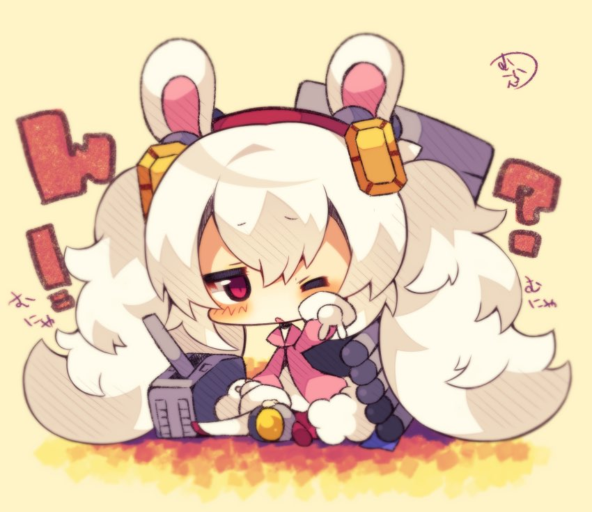 1girl ? animal_ears azur_lane cannon chibi commentary_request full_body hair_ornament laffey_(azur_lane) long_hair muuran one_eye_closed rabbit_ears red_eyes sitting sleepy solo torpedo_tubes twintails white_hair