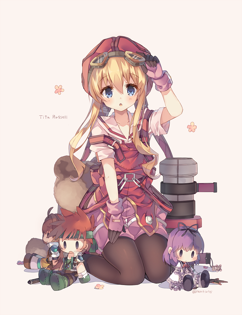 1girl adjusting_goggles agate_crosner black_legwear blonde_hair blue_eyes cannon character_name eiyuu_densetsu estelle_bright flower full_body gloves goggles goggles_on_head hat kneeling long_hair looking_at_viewer open_mouth overalls pantyhose pink_background pink_gloves renne rento_(rukeai) shirt short_sleeves simple_background solo sora_no_kiseki stuffed_animal stuffed_toy teddy_bear tita_russell twitter_username