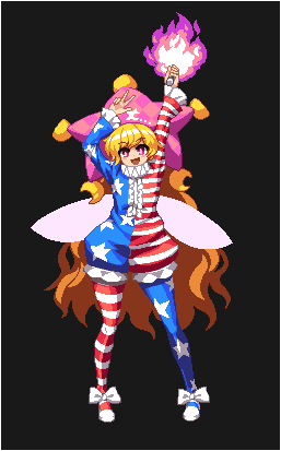 1girl alternate_costume american_flag american_flag_dress american_flag_legwear clownpiece dress fairy_wings frilled_shirt_collar frills hat horizontal-striped_dress horizontal-striped_legwear horizontal_stripes jester_cap legacy_of_lunatic_kingdom long_hair lowres neck_ruff pixel_art print_legwear short_dress simple_background solo standing star star_print striped striped_legwear takorin torch touhou v wings
