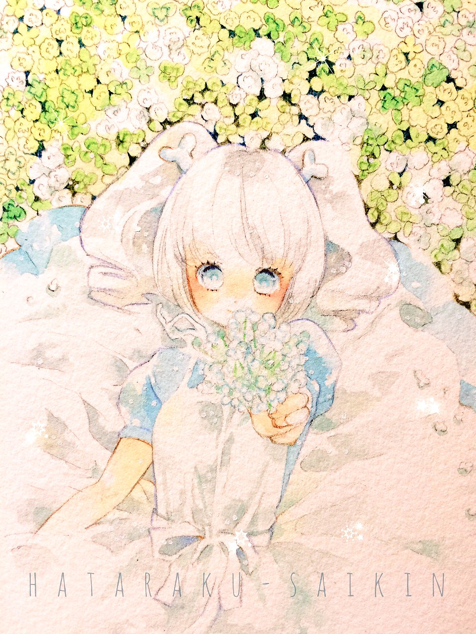 1girl bifidobacterium_longum_(hataraku_saikin) blue_dress blue_eyes closed_mouth copyright_name dress flower hataraku_saibou hataraku_saikin highres presenting short_twintails smile traditional_media twintails upper_body watercolor_(medium) white_hair yoshida_haruyuki