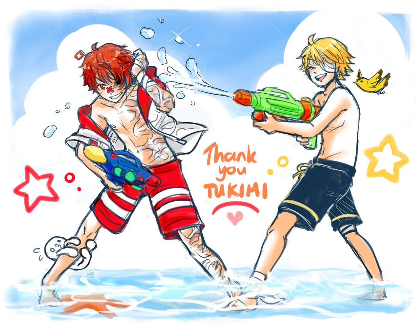 2boys bird blonde_hair fukase head_flag hood hoodie james_(vocaloid) male_swimwear multiple_boys nipples oliver_(vocaloid) point_(vocaloid) red_eyes redhead ryllen scar shallow_water short_sleeves smile standing starfish swim_trunks swimsuit swimwear vocaloid wading water_gun