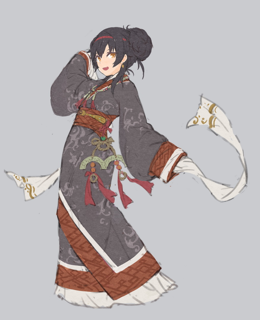 1girl :d black_hair brown_eyes character_request chinese_clothes earrings fangdan_runiu full_body girls_frontline grey_background hair_bun hairband hanfu jewelry long_hair long_sleeves looking_at_viewer open_mouth sash simple_background sleeves_past_fingers sleeves_past_wrists smile solo standing wide_sleeves