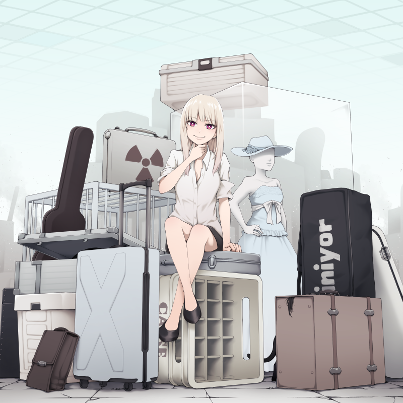 1girl bag black_footwear black_skirt blonde_hair box bright_pupils cat collared_shirt commentary_request crate grey_shirt guitar_case hand_up high_heels instrument_case long_hair looking_at_viewer mannequin original pink_eyes popped_collar radiation_symbol rolling_suitcase shirt sitting skirt smile solo suitcase wing_collar yajirushi_(chanoma)