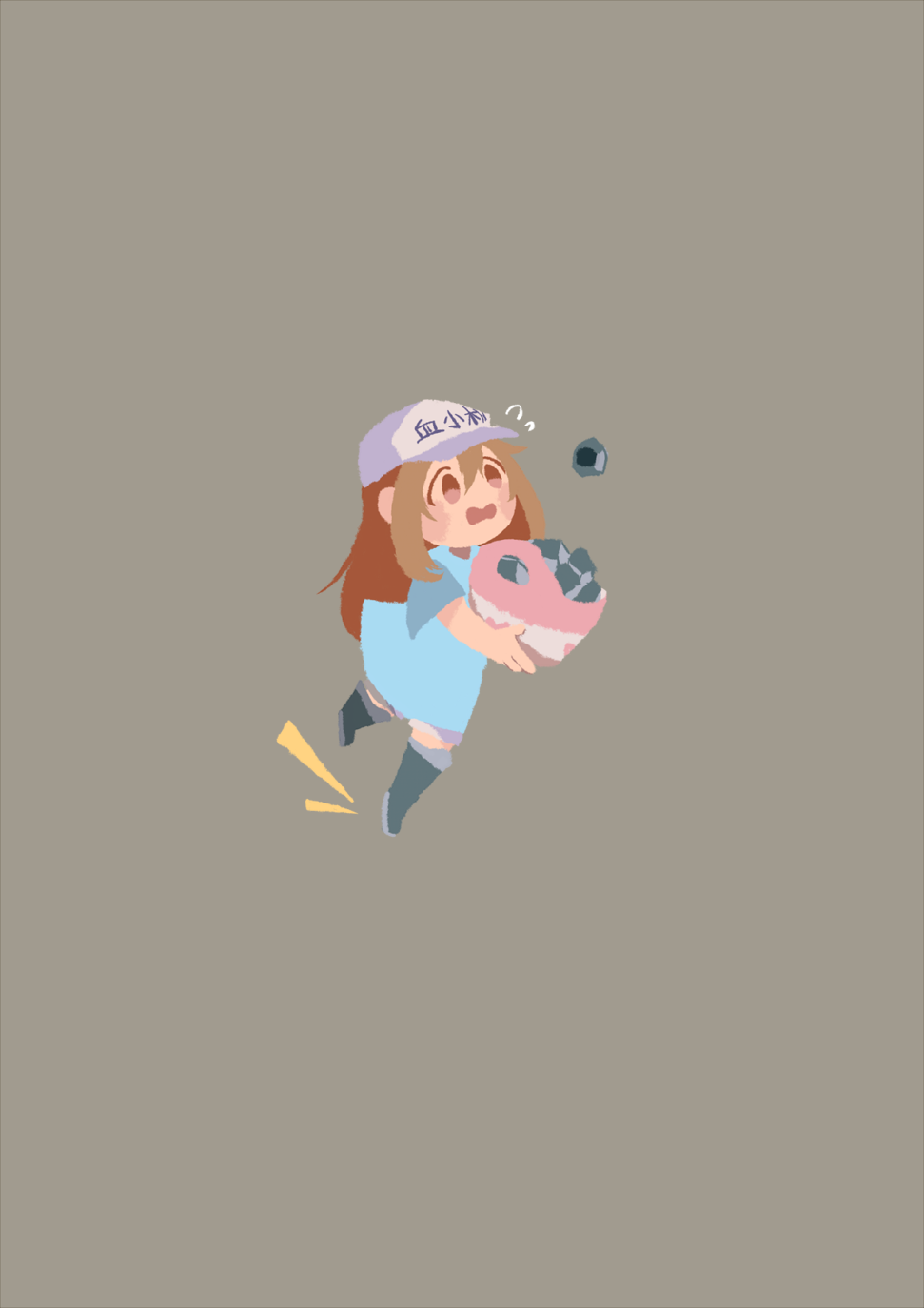 /\/\/\ 1girl bag blue_shirt blush_stickers boots brown_eyes brown_hair clothes_writing flat_cap flying_sweatdrops grey_background grey_footwear hair_between_eyes hat hataraku_saibou highres holding jensen_wake leg_lift light_brown_hair long_hair looking_away no_lineart no_nose open_mouth platelet_(hataraku_saibou) rubber_boots shirt short_sleeves shorts simple_background solo sweat tareme tripping white_hat white_shorts
