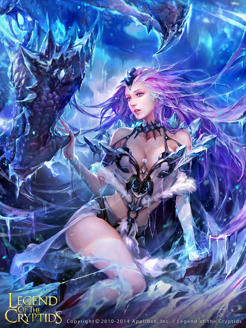 1girl artist_name bare_shoulders blue_eyes breasts cleavage copyright_name dragon fur_trim gloves ice jewelry legend_of_the_cryptids long_hair necklace official_art pink_hair sitting solo thigh-highs zinnadu