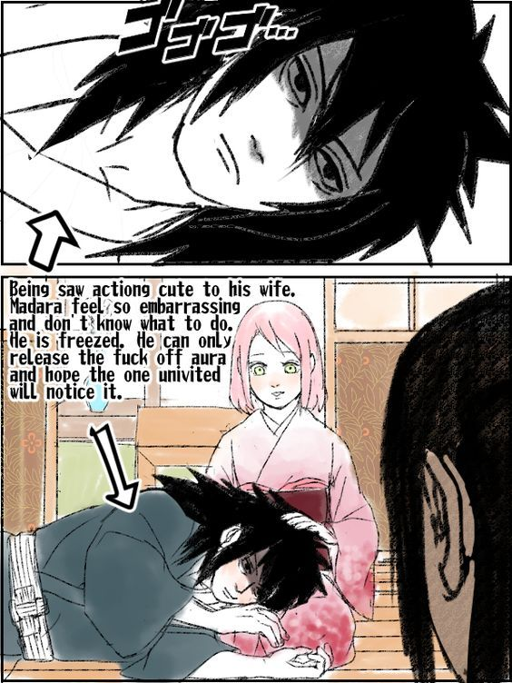 1girl 2boys black_hair green_eyes haruno_sakura naruto pink_hair uchiha_madara