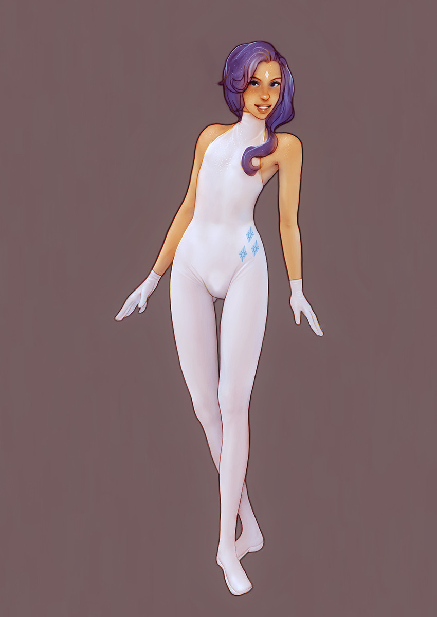1girl bare_shoulders bodysuit commentary facial_mark gloves grey_background highres humanization lips muhamaru_yuni my_little_pony my_little_pony_friendship_is_magic parted_lips purple_hair rarity skin_tight smile solo standing thigh_gap white_gloves