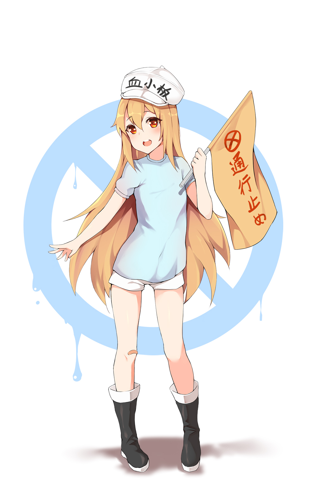 1girl black_footwear blue_shirt boots character_name clothes_writing commentary_request flag flat_cap full_body hat hataraku_saibou highres holding holding_flag light_brown_hair long_hair meng_ge_3_(565571710) no_entry_sign open_mouth platelet_(hataraku_saibou) red_eyes round_teeth shadow shirt short_shorts short_sleeves shorts solo standing teeth upper_teeth very_long_hair white_background white_hat white_shorts