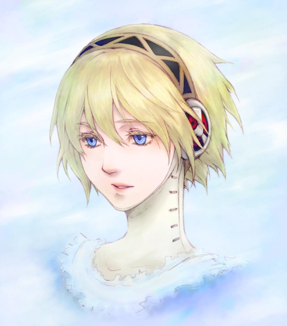 aegis blonde_hair blue_eyes close-up face kurosato lips megaten persona persona_3 short_hair solo