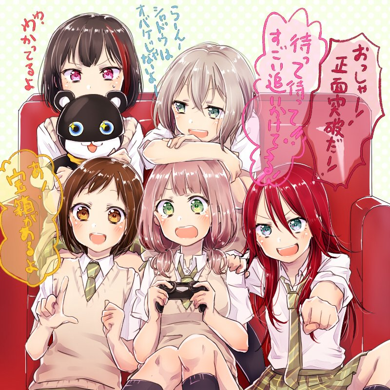 +_+ 5girls :3 :d :o afterglow_(bang_dream!) aoba_moka bang_dream! bangs black_hair blue_eyes bob_cut brown_eyes brown_hair clenched_hand collared_shirt commentary_request controller couch doll doll_hug game_controller green_eyes green_neckwear green_skirt grey_hair hair_between_eyes hand_on_another's_shoulder haneoka_school_uniform hazawa_tsugumi holding holding_doll index_finger_raised leaning_on_person long_hair low_twintails miniskirt mitake_ran muchise multicolored_hair multiple_girls necktie open_mouth outstretched_hand pink_hair plaid plaid_skirt playing_games pleated_skirt redhead round_teeth school_uniform shirt short_hair short_sleeves short_twintails sitting skirt sleeves_rolled_up smile streaked_hair striped_neckwear sweatdrop sweater_vest teeth translation_request twintails udagawa_tomoe uehara_himari upper_teeth violet_eyes white_shirt