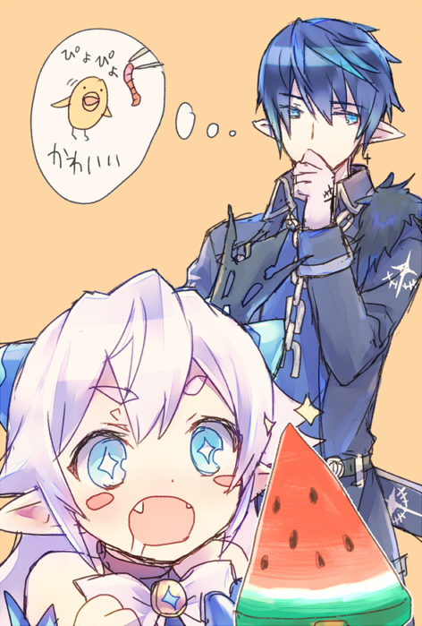 1boy 1girl bird chick ciel_(elsword) crown drooling elsword eyebrows_visible_through_hair fangs food fruit horns luciela_r._sourcream pointy_ears star star-shaped_pupils symbol-shaped_pupils thinking wanko_(takohati8) watermelon worms