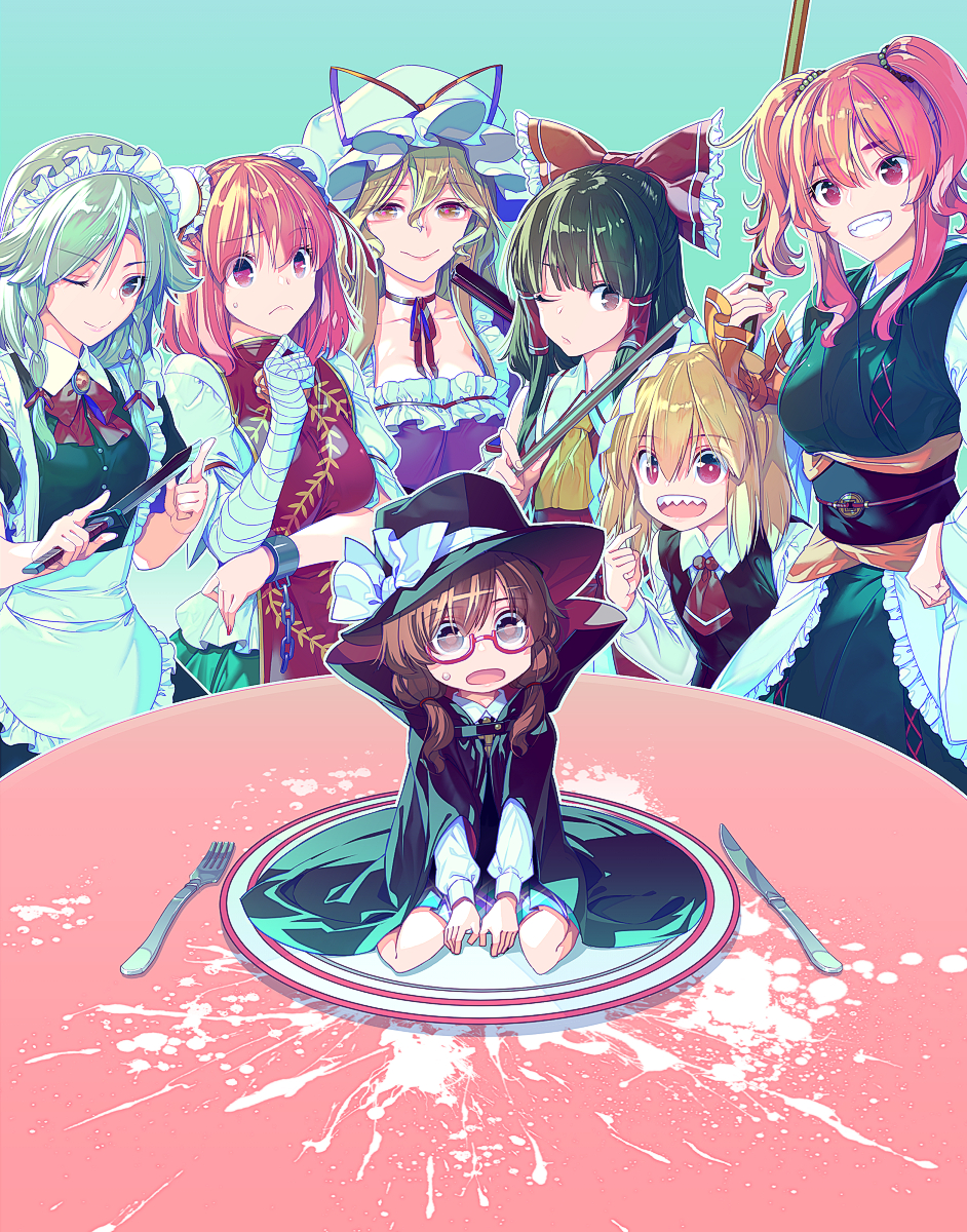 6+girls ;) apron ascot bandage bandaged_arm bandages bangs black_cape black_hair black_hat black_vest blonde_hair blouse blue_dress braid breasts brown_eyes brown_hair bun_cover cape choker cleavage collarbone commentary_request double_bun dress eyebrows_visible_through_hair fan fedora folding_fan fork frilled_apron frills glasses gohei green_skirt grin hair_between_eyes hair_ribbon hakurei_reimu hand_on_hip hat high_collar highres holding holding_fan holding_knife ibaraki_kasen izayoi_sakuya knife large_breasts lips long_sleeves looking_at_viewer low_twintails maid maid_apron maid_headdress medium_breasts mob_cap multiple_girls neck_ribbon obi one_eye_closed onozuka_komachi open_mouth pink_eyes pink_hair pink_lips plate pointing pointing_at_self puffy_short_sleeves puffy_sleeves purple_dress purple_neckwear purple_ribbon purple_skirt red-framed_eyewear red_eyes red_neckwear red_ribbon ribbon ribbon_choker rumia sash sharp_teeth shirt short_hair short_sleeves silver_hair sitting skirt smile standing tabard table teeth touhou twin_braids twintails two_side_up usami_sumireko vest violet_eyes waist_apron wariza white_apron white_blouse white_hat white_shirt wide_sleeves wing_collar yakumo_yukari yellow_eyes yellow_neckwear zounose
