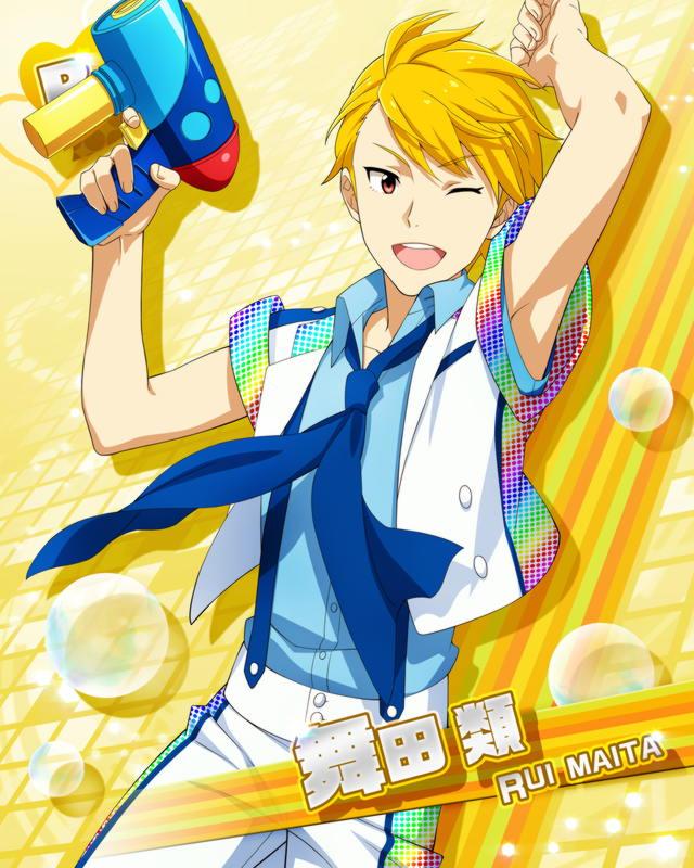 armpits blonde_hair character_name gun idolmaster idolmaster_side-m maita_rui red_eyes seifuku short_hair smile wink