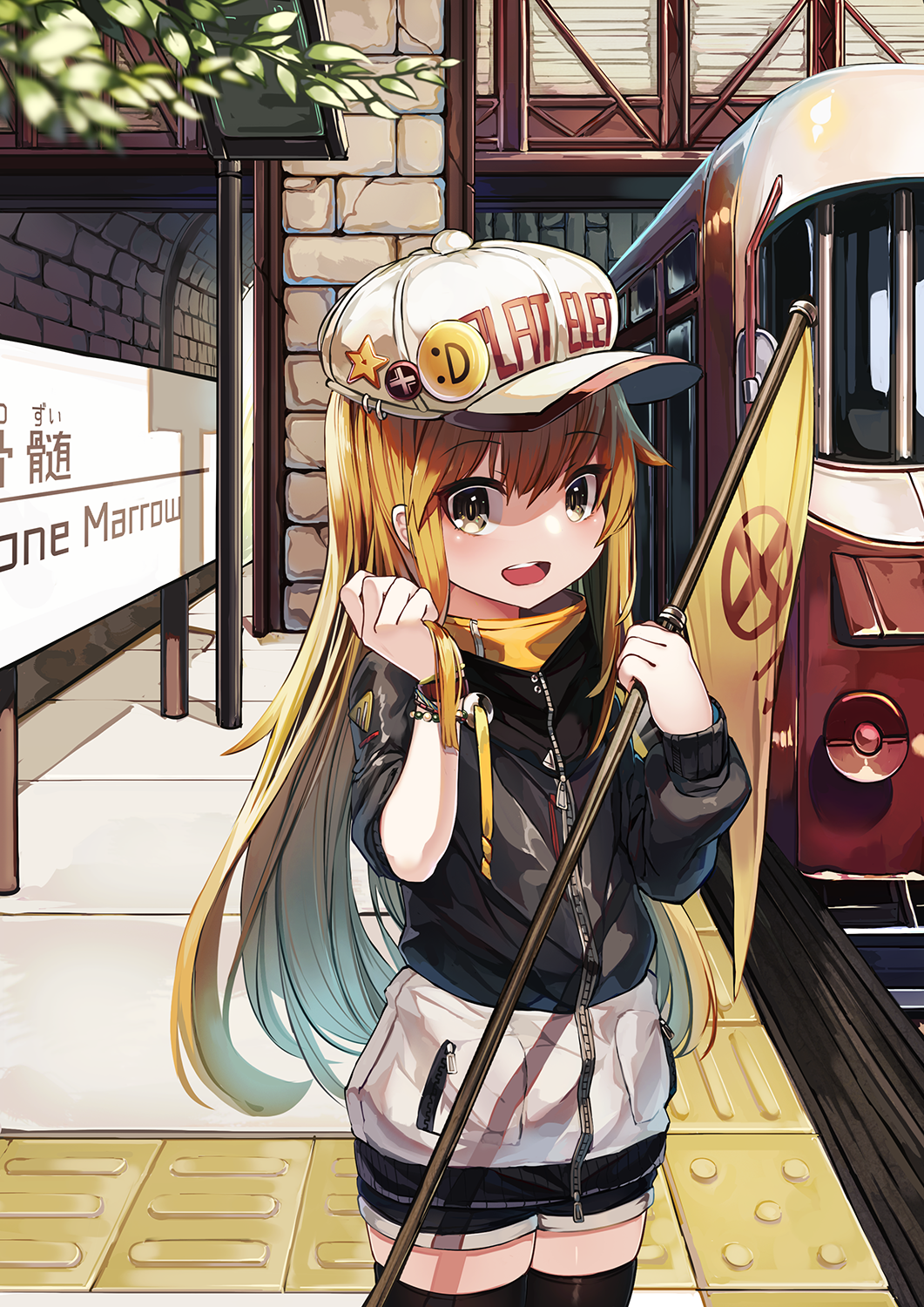 1girl :d alternate_costume bangs black_jacket black_legwear black_shorts blush brown_eyes brown_hair casual character_name clothes_writing commentary_request english eyebrows_visible_through_hair flat_cap ground_vehicle hair_between_eyes hands_up hat hataraku_saibou highres jacket long_hair long_sleeves looking_at_viewer natori_youkai open_mouth platelet_(hataraku_saibou) round_teeth short_shorts shorts smile smiley_face solo standing star teeth thigh-highs train train_station translated upper_teeth very_long_hair white_hat