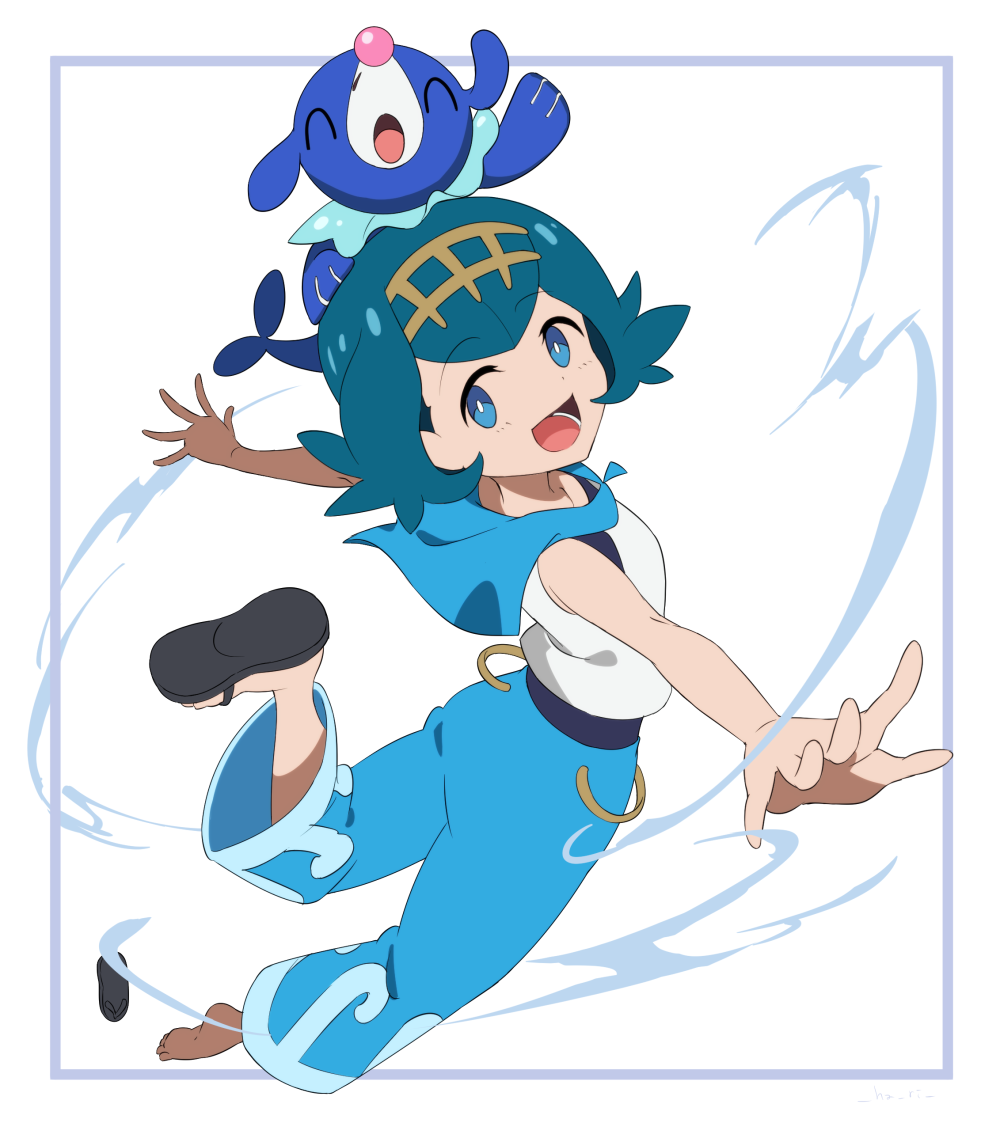1girl anime_coloring baggy_pants blue_eyes blue_hair border footwear_removed hairband happy hari611 looking_at_viewer looking_back open_mouth outstretched_arms pants pokemon pokemon_(anime) pokemon_(game) pokemon_on_head pokemon_sm popplio sailor_collar sandals shirt simple_background sleeveless sleeveless_shirt smile solo suiren_(pokemon) swimsuit swimsuit_under_clothes white_background