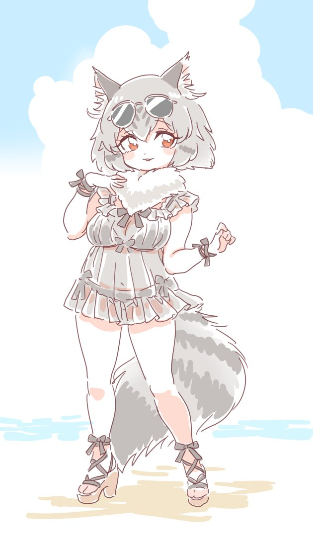 alternate_costume animal_ears beach blush bow cat_ears cat_tail commentary_request eyebrows_visible_through_hair eyewear_on_head fur_collar grey_hair high_heels kemono_friends mitsumoto_jouji multicolored_hair norwegian_forest_cat_(kemono_friends)_(mitsumoto_jouji) original sandals shoe_bow shoes short_hair sunglasses swimwear tail wrist_bow