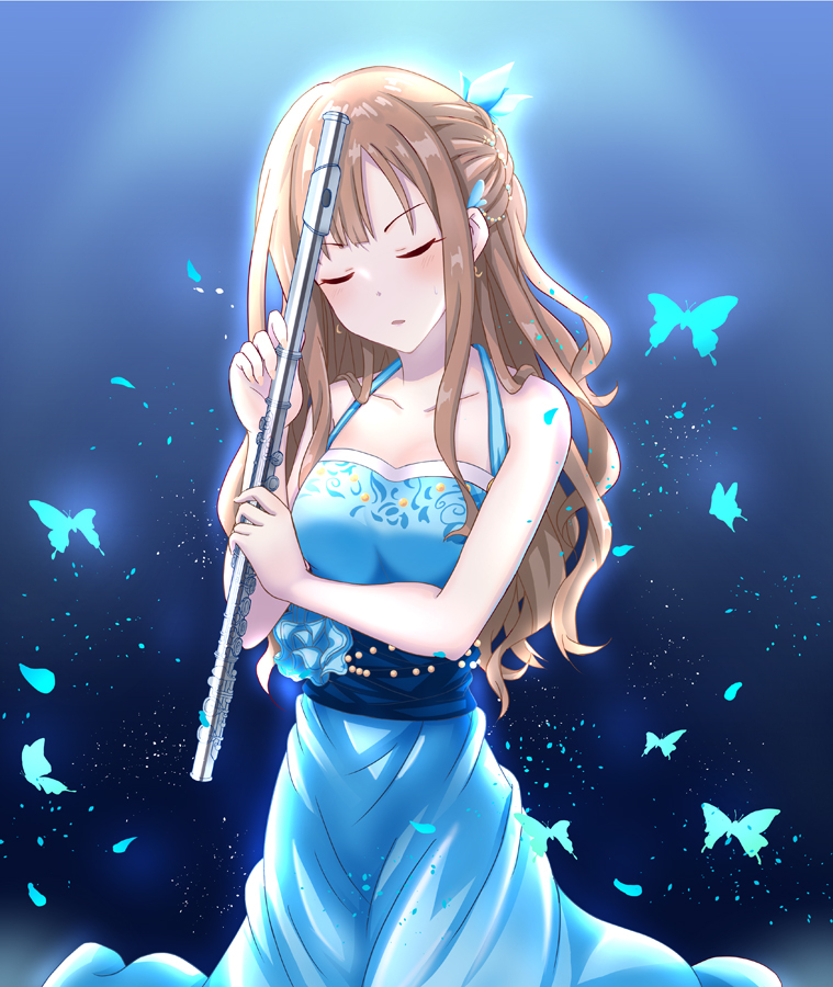 1girl blue_background blue_dress blush brown_hair bug butterfly closed_eyes collarbone cowboy_shot dress earrings hair_ornament head_tilt holding holding_instrument idolmaster idolmaster_cinderella_girls idolmaster_cinderella_girls_starlight_stage insect instrument jewelry long_dress long_hair mizumoto_yukari open_mouth sleeveless sleeveless_dress solo standing sweatdrop toufuu