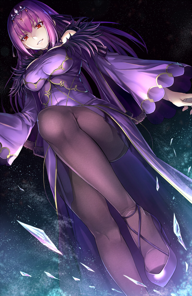1girl bangs bare_shoulders black_legwear breasts commentary_request cross-laced_footwear crystal detached_collar dress eyebrows_visible_through_hair fate/grand_order fate_(series) feet_out_of_frame from_below fur_trim grin hair_between_eyes high_heels highres knee_up large_breasts long_hair long_sleeves looking_at_viewer looking_down night night_sky noe_noel off-shoulder_dress off_shoulder pantyhose purple_dress purple_footwear purple_hair red_eyes scathach_(fate)_(all) scathach_skadi_(fate/grand_order) shiny shiny_clothes sidelocks sky smile solo standing standing_on_one_leg star_(sky) starry_sky thighs tiara v-shaped_eyebrows wide_sleeves