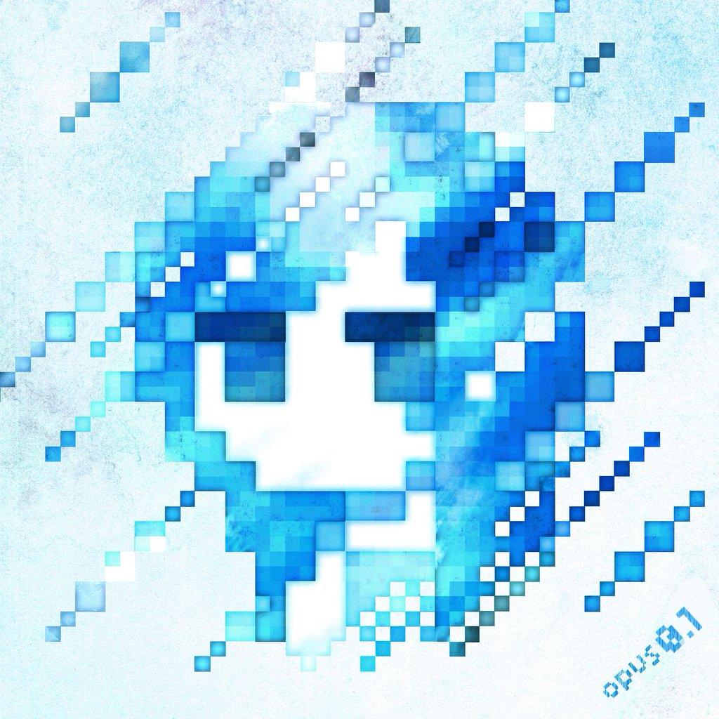 1girl abstract blue blue_eyes blue_hair limited_palette m7kenji original pixel_art portrait solo square