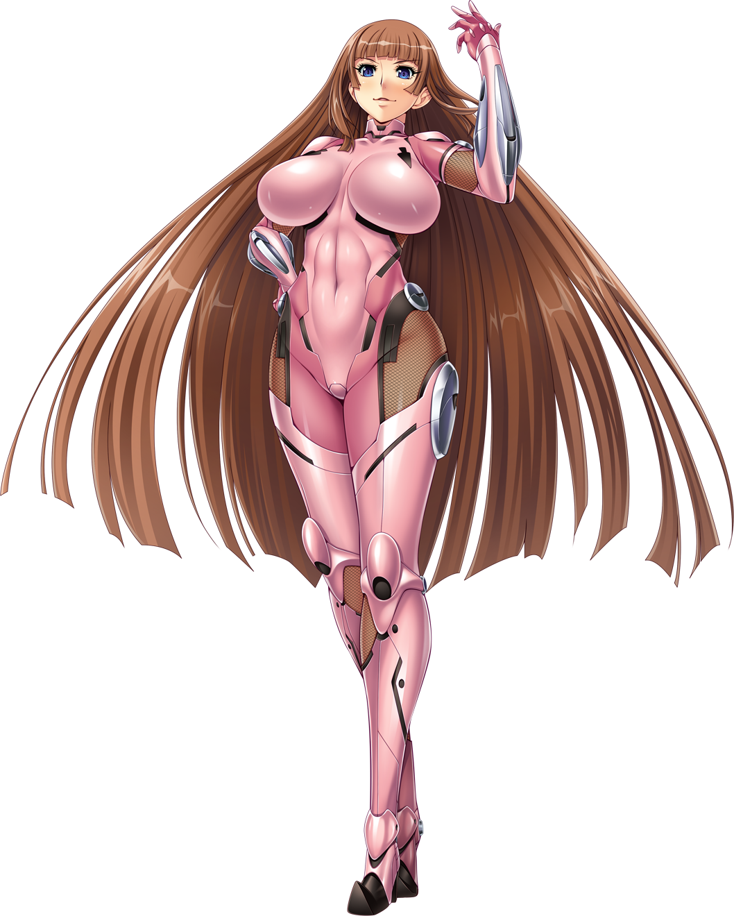 1girl aoi_nagisa_(metalder) arm_guards armor bangs blue_eyes bodysuit breasts brown_hair covered_navel fishnets full_body gloves hand_on_hip hand_up high_heels highres impossible_bodysuit impossible_clothes koukawa_asuka large_breasts lilith-soft long_hair looking_at_viewer official_art parted_lips pink_bodysuit shiny shiny_clothes shiny_hair shiny_skin skin_tight smile solo standing taimanin_(series) taimanin_asagi thigh-highs transparent_background very_long_hair
