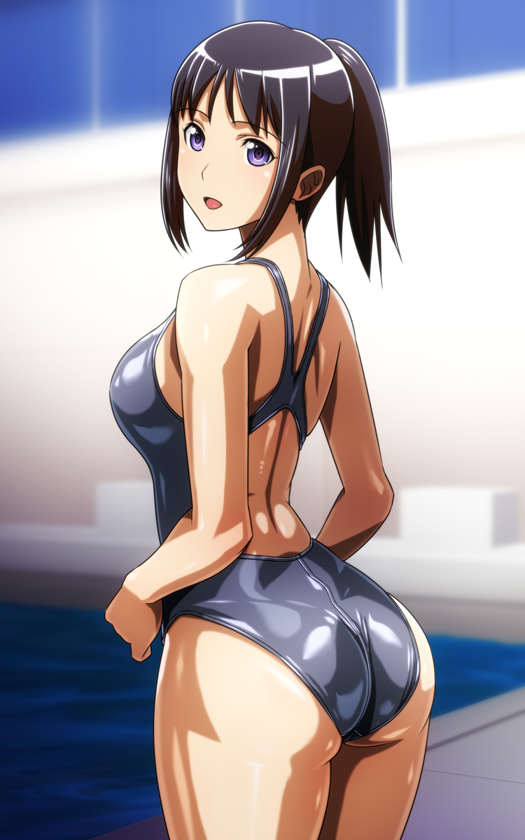 1girl :d ass back back_cutout black_hair black_swimsuit blurry breasts competition_swimsuit cowboy_shot crotch_seam depth_of_field from_behind highres looking_at_viewer looking_back medium_breasts monteriakitto one-piece_swimsuit open_mouth original ponytail pool poolside shiny shiny_clothes shiny_skin sidelocks smile solo swimsuit violet_eyes water