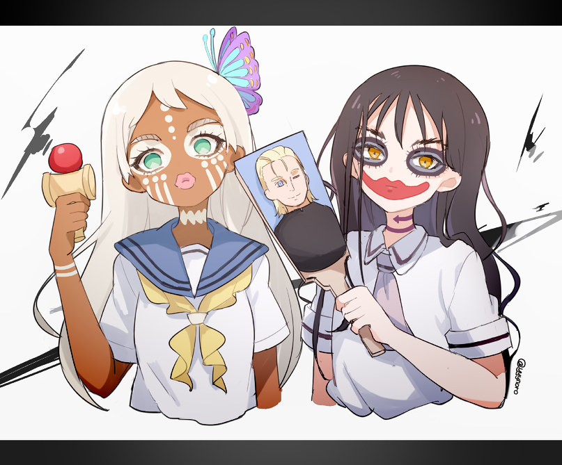 2girls asobi_asobase bangs blue_sailor_collar brown_eyes brown_hair butterfly_hair_ornament captain_yue closed_mouth collared_shirt eyebrows_visible_through_hair green_eyes hagoita hair_between_eyes hair_down hair_ornament honda_hanako kendama long_hair looking_at_viewer lord_of_pastimers makeup multiple_girls necktie paddle parted_lips sailor_collar school_uniform shirt short_sleeves side_locks simple_background twitter_username upper_body very_long_hair watermark wavy_hair white_background white_hair white_shirt