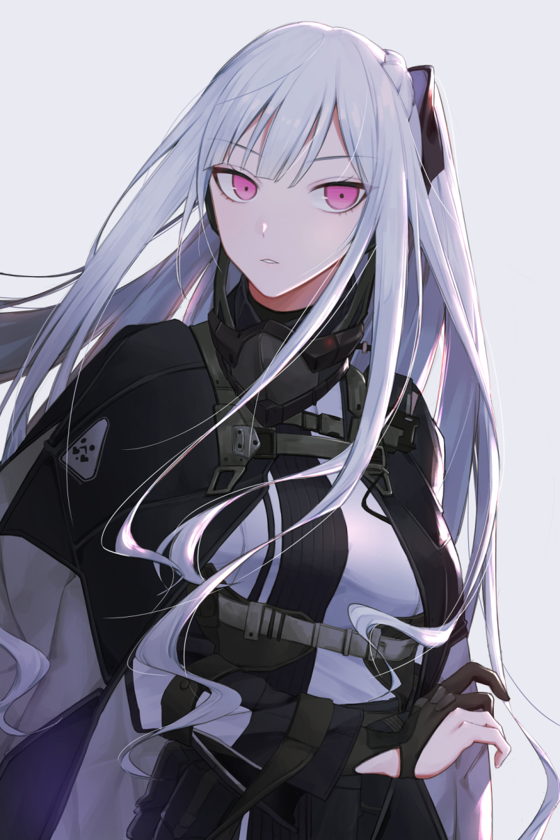 1girl ak-12_(girls_frontline) bangs black_gloves braid breasts cloak eyebrows_visible_through_hair french_braid gas_mask girls_frontline gloves grey_background hair_ribbon highres jacket long_hair long_sleeves looking_at_viewer medium_breasts parted_lips partly_fingerless_gloves qb_516 ribbon sidelocks silver_hair simple_background solo strap tactical_clothes upper_body very_long_hair violet_eyes