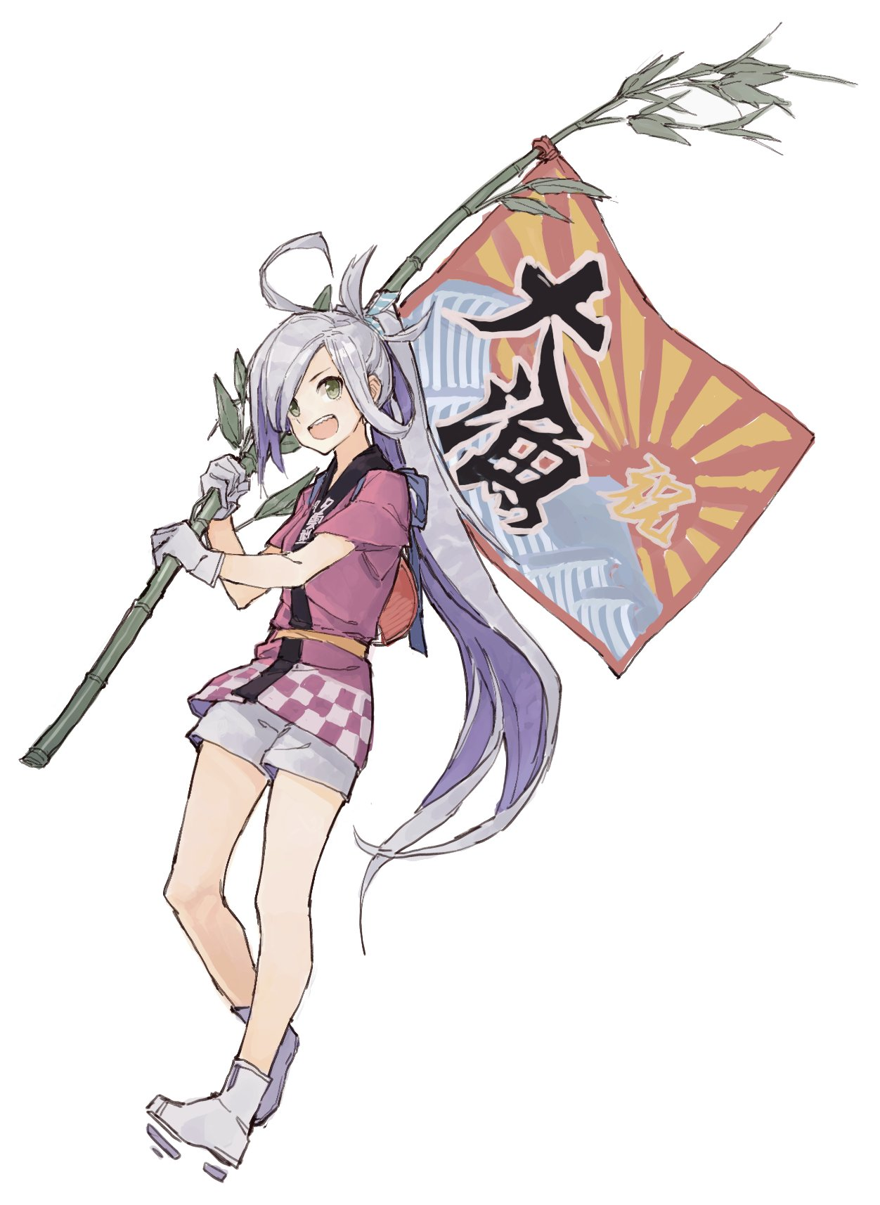 1girl ahoge air_qh asashimo_(kantai_collection) bamboo clothes_writing commentary fan flag gloves grey_eyes grey_hair hair_over_one_eye happi highres japanese_clothes kantai_collection long_hair multicolored_hair paper_fan ponytail purple_hair sharp_teeth shorts teeth white_background white_gloves