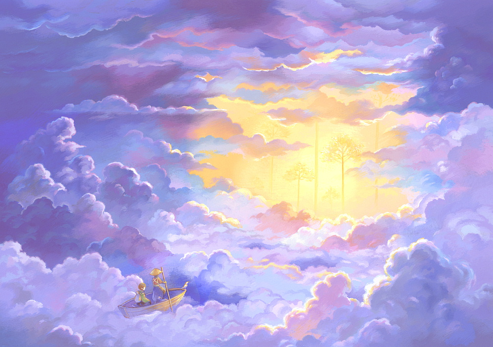 acrylic_paint_(medium) ambiguous_gender blue clouds cloudy_sky day hat oar original outdoors pink purple rowboat scenery sky straw_hat suijou_ai sunlight traditional_media yellow