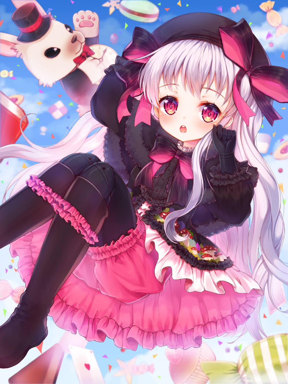 1girl arm_up bangs beret black_bow black_cape black_dress black_footwear black_gloves black_hat black_legwear bloomers blue_sky blurry blurry_background blush boots bow candy_wrapper cape capelet card checkerboard_cookie chestnut_mouth clouds commentary_request cookie day depth_of_field doll_joints dress elbow_gloves eyebrows_visible_through_hair fate/extra fate_(series) food food_print foreign_blue frilled_boots frilled_footwear frills fur-trimmed_capelet fur_trim gloves gothic_lolita hand_up hat hat_bow heart highres knee_boots lolita_fashion long_hair long_sleeves macaron midair mushroom_print nursery_rhyme_(fate/extra) open_mouth outdoors pantyhose playing_card print_dress puffy_long_sleeves puffy_sleeves red_eyes round_teeth silver_hair sky solo star striped striped_bow teeth underwear upper_teeth very_long_hair white_rabbit