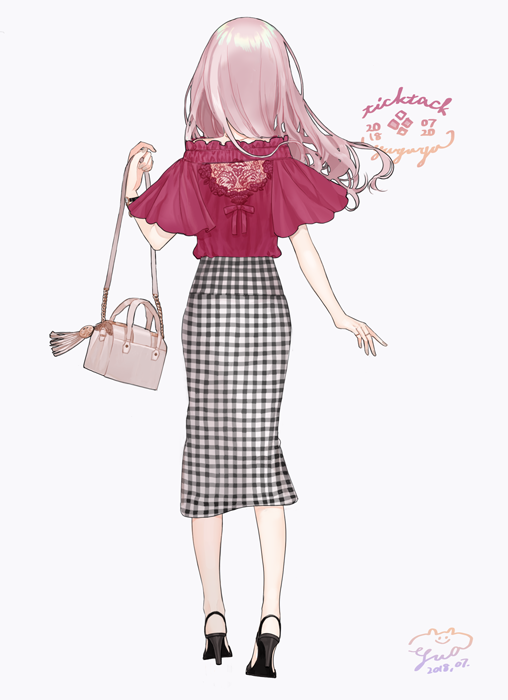 1girl 2018 ankle_strap artist_name back_cutout bag bracelet dated from_behind full_body grey_background hand_up high_heels holding holding_bag jewelry july lace long_hair long_skirt original pink_hair plaid plaid_skirt red_ribbon red_shirt ribbon ring shirt shoulder_bag signature simple_background skirt solo walking yua_(tick-tack)