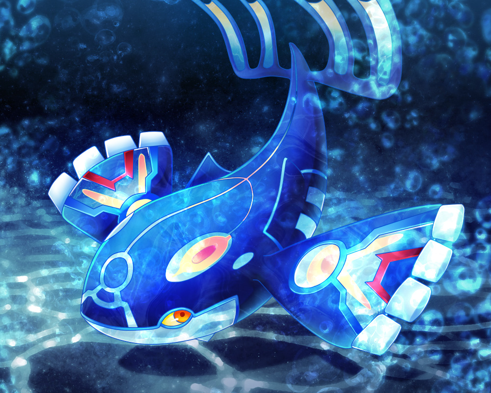 bubble creatures_(company) dark_background game_freak gen_3_pokemon kurosiro kyogre legendary_pokemon looking_at_viewer nintendo no_humans pokemon pokemon_(game) pokemon_oras primal_kyogre solo underwater
