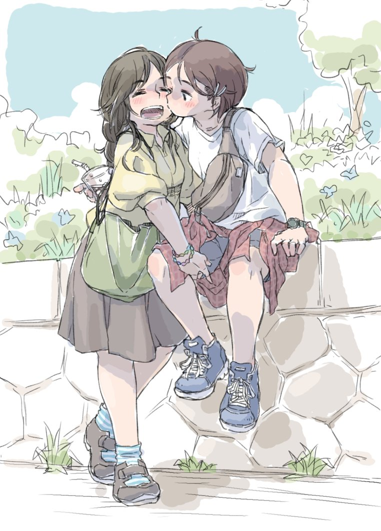 2girls ahoge bendy_straw black_hair blush bracelet brown_hair cheek_kiss closed_eyes clothes_around_waist cup drinking_straw eyebrows_visible_through_hair jacket_around_waist jewelry kiss long_hair m_k multiple_girls original shirt short_hair shorts sitting_on_water sketch skirt stone_wall t-shirt wall watch watch white_shirt yuri