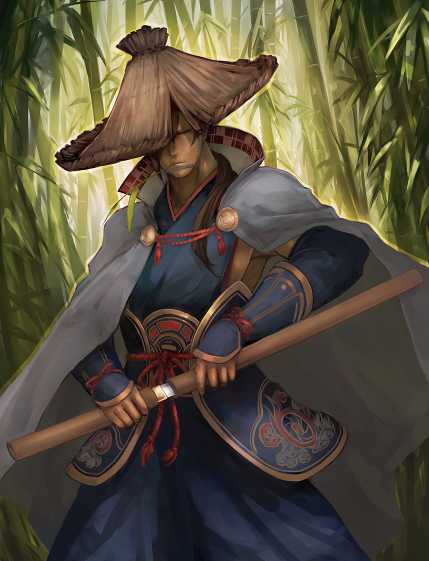 1boy bamboo bamboo_forest brown_hair cape closed_eyes commentary forest hat hayashizaki_jinsuke holding holding_sword holding_weapon katana long_hair male_focus mouth_hold nature original real_life rice_hat saya_(scabbard) solo sword totteri weapon