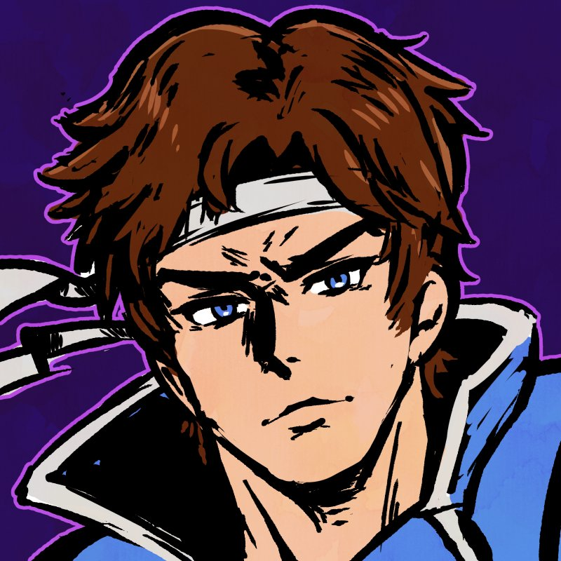 1boy akairiot blue_background blue_eyes brown_hair castlevania castlevania:_rondo_of_blood headband looking_at_viewer male_focus richter_belmondo short_hair simple_background smile solo super_smash_bros. super_smash_bros_ultimate