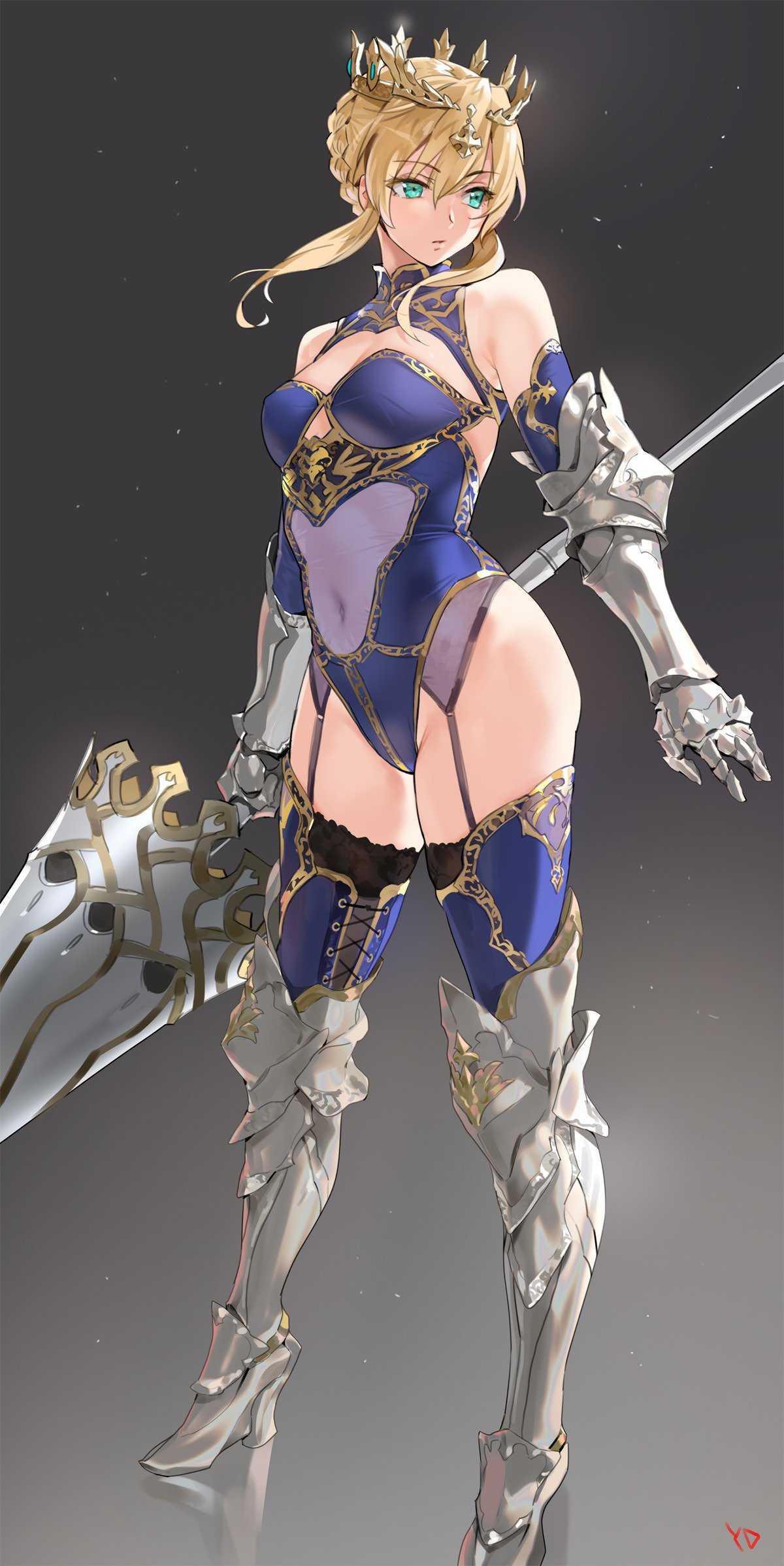 1girl ahoge armored_boots artoria_pendragon_(all) artoria_pendragon_(lancer) bangs bare_shoulders blonde_hair blue_legwear blue_leotard boots braid breasts covered_navel crown fate/grand_order fate_(series) french_braid garter_straps gauntlets gradient gradient_background green_eyes hair_between_eyes highres hips knee_boots lance leotard looking_to_the_side medium_breasts parted_lips polearm rhongomyniad sidelocks solo thighs weapon yang-do