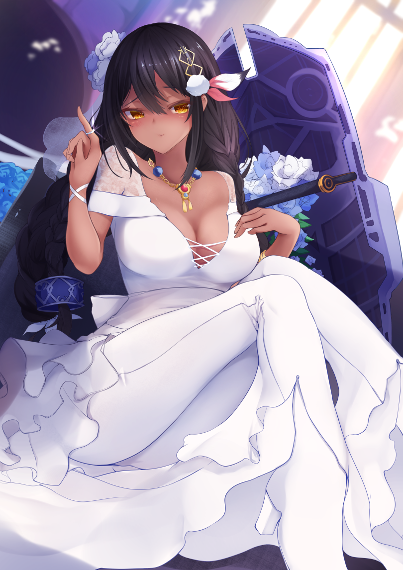 1girl azur_lane black_hair braid breasts commentary_request dark_skin dress eyebrows_visible_through_hair feathers hair_between_eyes hair_feathers indoors jewelry large_breasts long_hair looking_at_viewer native_american necklace reku_hisui ring solo south_dakota_(azur_lane) wedding_band wedding_dress window yellow_eyes