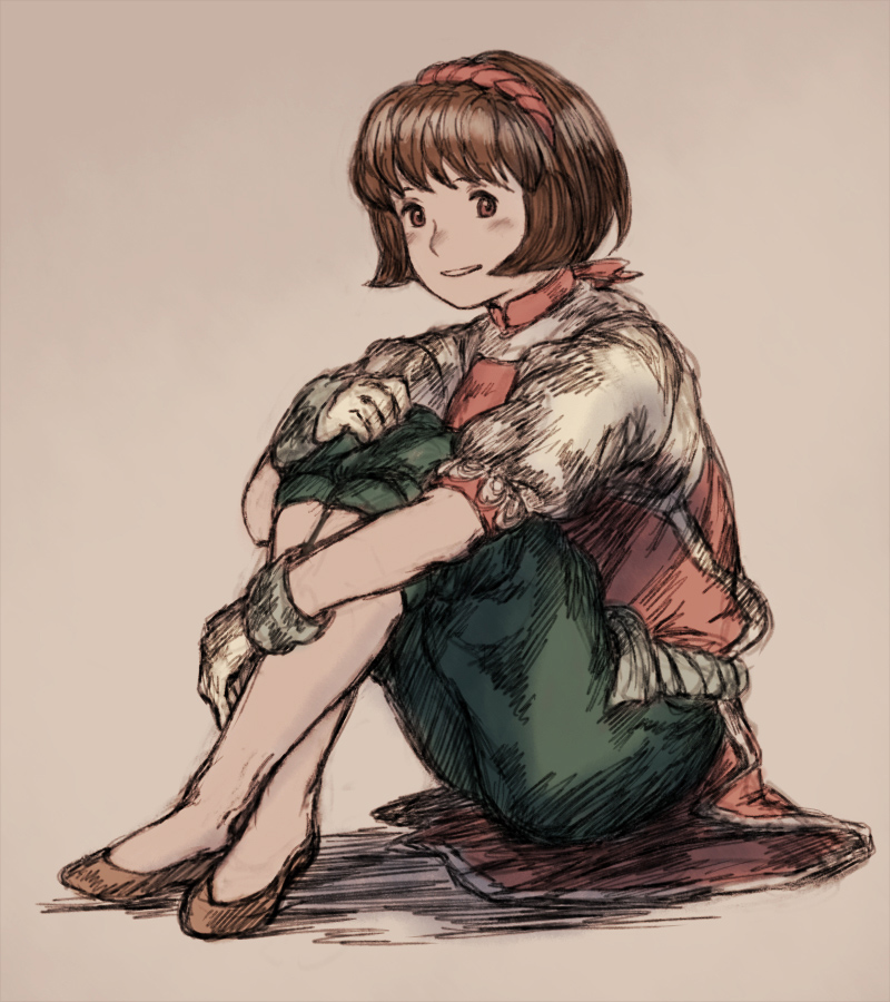 1girl baggy_pants brown_eyes brown_hair commentary_request gensou_suikoden gensou_suikoden_ii hairband maekakekamen nanami_(suikoden) pants short_hair smile solo