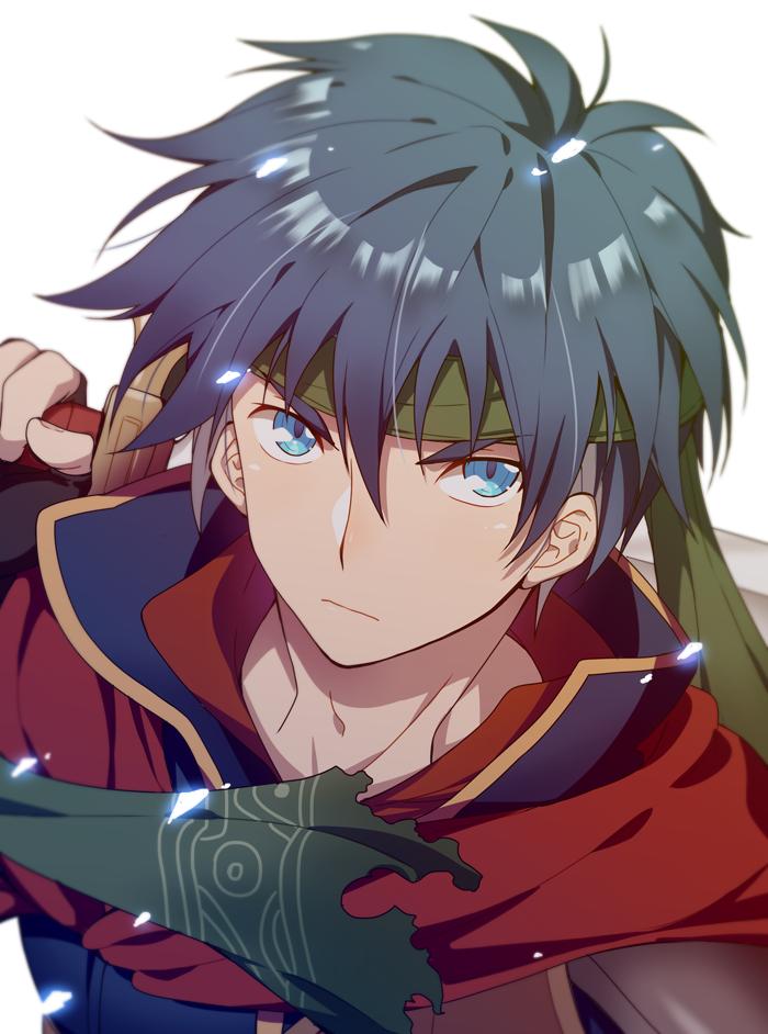 1boy blue_eyes blue_hair cape fire_emblem fire_emblem:_souen_no_kiseki gloves headband ike inha_(ingha) male_focus ragnell short_hair simple_background solo sword weapon