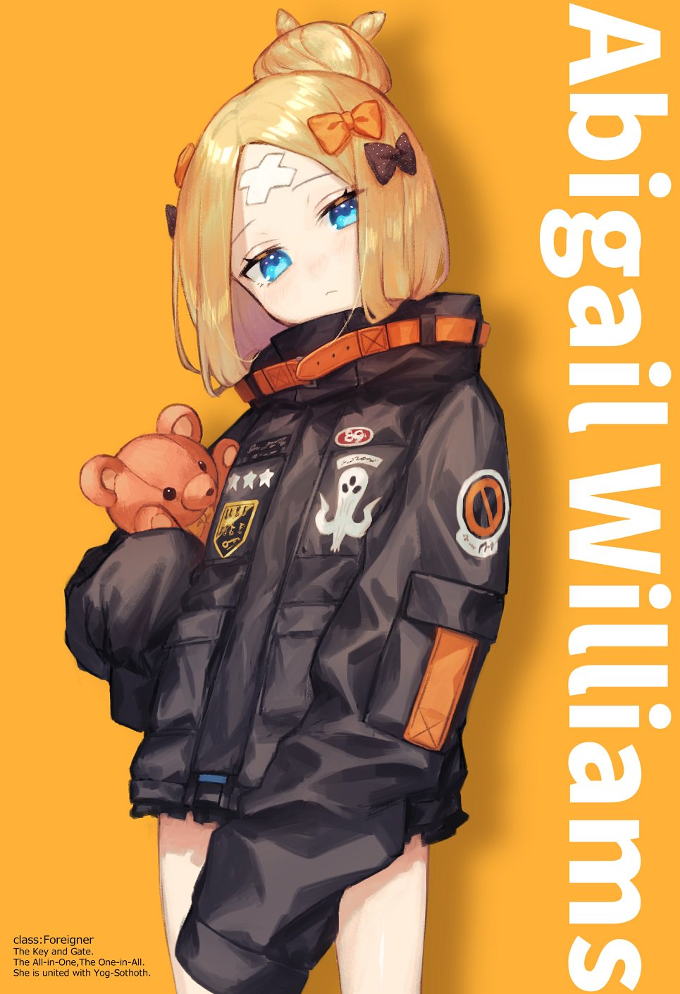 1girl abigail_williams_(fate/grand_order) bangs black_bow black_jacket blue_eyes bow fate/grand_order fate_(series) highres jacket looking_at_viewer orange_bow parted_bangs polka_dot polka_dot_bow sleeves_past_fingers sleeves_past_wrists stuffed_animal stuffed_toy teddy_bear usuke_(u_skeeep)