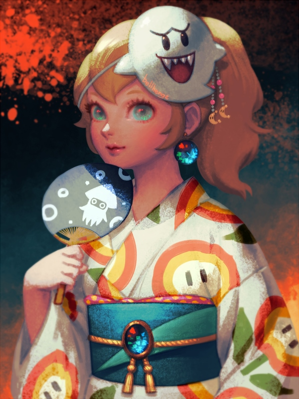 1girl artist_name bellhenge blonde_hair blooper blue_eyes boo commentary english_commentary fan festival fire_flower floral_print flower japanese_clothes kimono long_hair looking_at_viewer mario_(series) mask obi ponytail princess_peach sash smile solo standing super_mario_bros. super_mario_odyssey