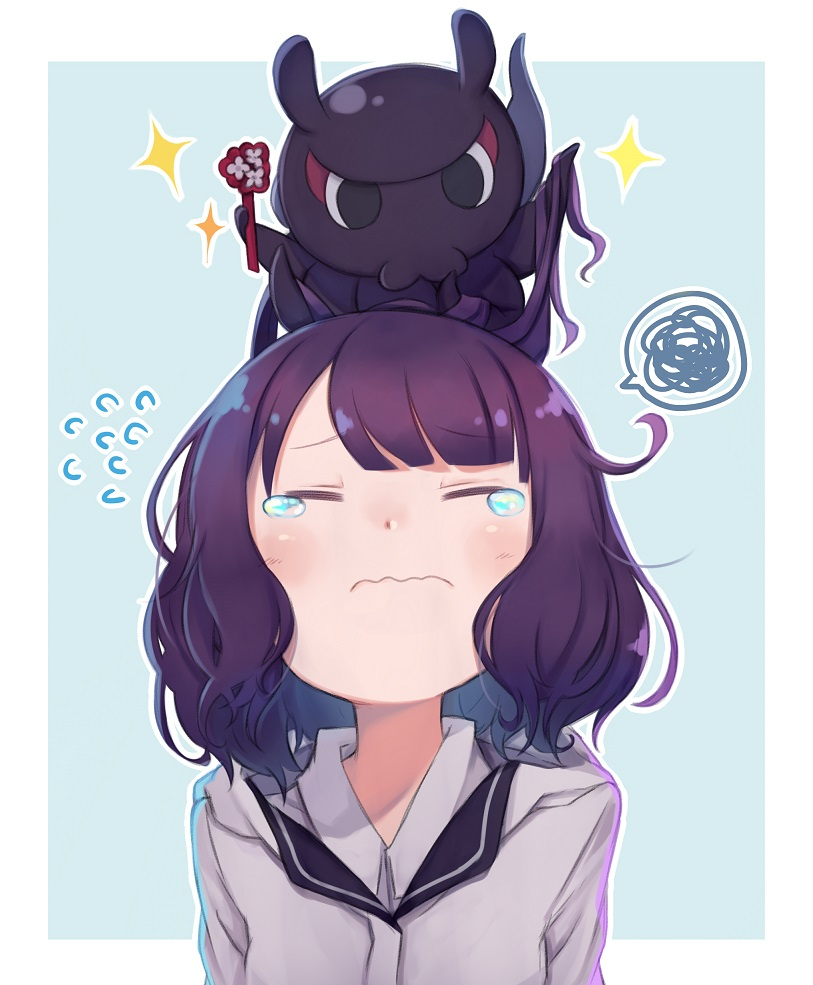 1girl blush casual closed_eyes contemporary eyebrows_visible_through_hair fate/grand_order fate_(series) flying_sweatdrops hair_ornament hairclip hood hoodie katsushika_hokusai_(fate/grand_order) medium_hair octopus outside_border purple_hair simple_background solo spoken_squiggle squiggle tearing_up totatokeke upper_body wavy_mouth