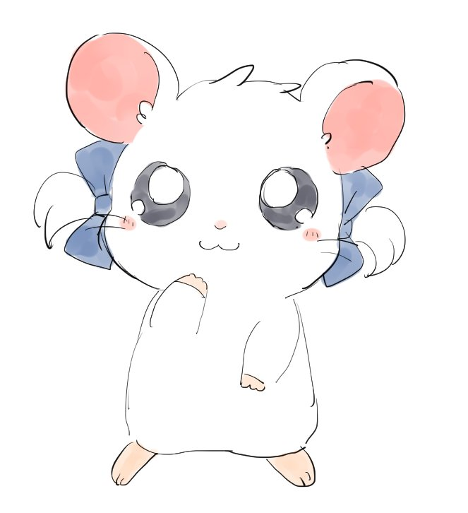 1girl :3 adorable animal bd_ayknn bijou blue_bow bow full_body hair_bow hamtaro looking_at_viewer no_humans ribbon_(hamutarou) shogakukan solo tms_entertainment tv_tokyo