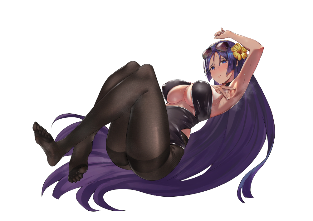 1girl arm_up armpits ass bangs blush breasts closed_mouth eyewear_on_head fate/grand_order fate_(series) feet flower hair_between_eyes hair_flower hair_ornament halter_top halterneck kakumayu large_breasts legs long_hair looking_at_viewer minamoto_no_raikou_(fate/grand_order) pantyhose parted_bangs purple_hair smile solo sunglasses tan thighband_pantyhose thighs under_boob very_long_hair violet_eyes