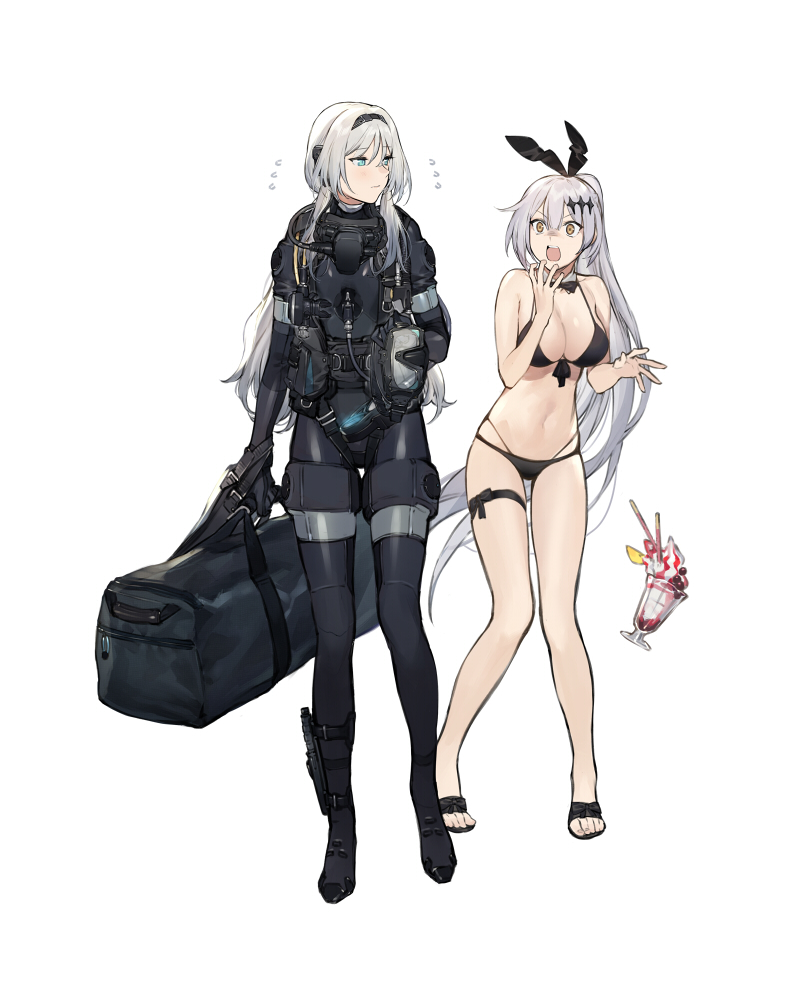 2girls alternate_costume alternate_hair_color an-94_(girls_frontline) bangs bare_shoulders bikini black_bikini black_ribbon blue_eyes blush bodysuit bow breasts brown_eyes cleavage closed_mouth combat_knife copyright_name detached_collar diving_mask diving_suit dropping duoyuanjun embarrassed eyebrows_visible_through_hair five-seven_(girls_frontline) flying_sweatdrops food full_body girls_frontline hair_ornament hair_ribbon hairband holding_goggles ice_cream knife knife_holster large_breasts logo long_hair looking_at_another looking_away multiple_girls navel official_art open_mouth oxygen_mask oxygen_tank ponytail ribbon sandals sidelocks silver_hair simple_background standing stomach strap sundae surprised swimsuit thigh_ribbon very_long_hair weapon weapon_bag wetsuit white_background