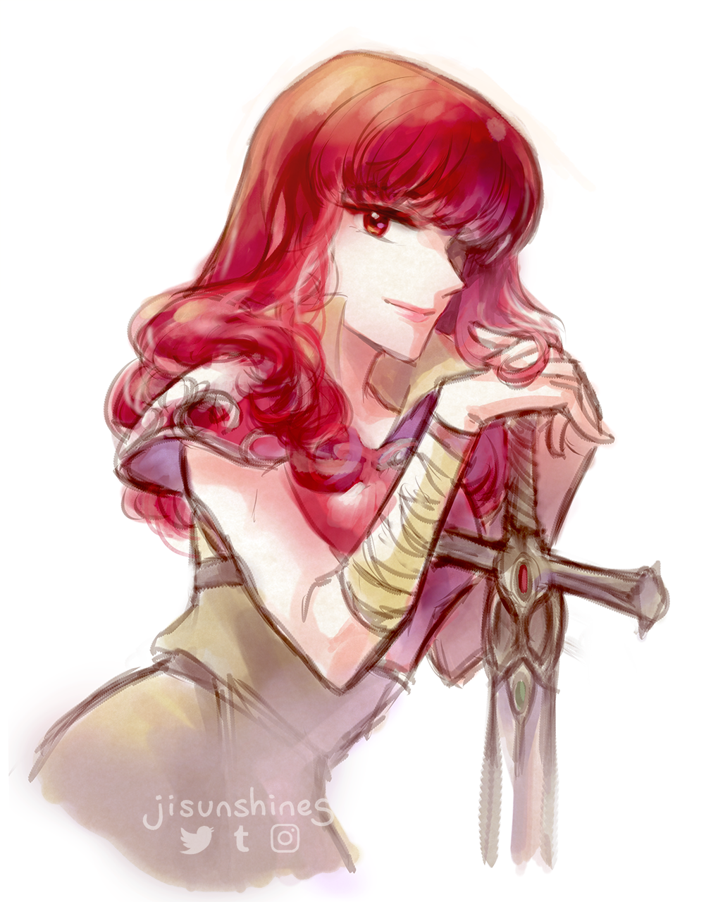 1girl armor celica_(fire_emblem) dress fire_emblem fire_emblem_echoes:_mou_hitori_no_eiyuuou fire_emblem_gaiden fire_emblem_heroes gloves highres liefe long_hair red_eyes redhead smile solo